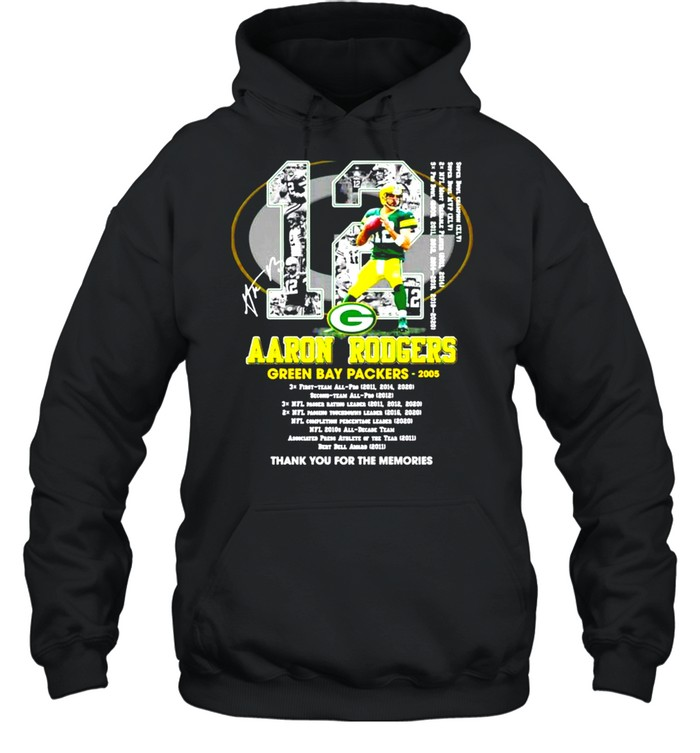 12 Aaron Rodgers Green Bay Packers thank you for the memories signature shirt Unisex Hoodie