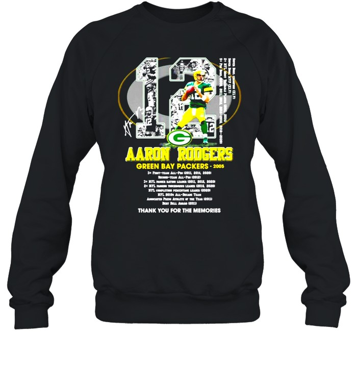 12 Aaron Rodgers Green Bay Packers thank you for the memories signature shirt Unisex Sweatshirt