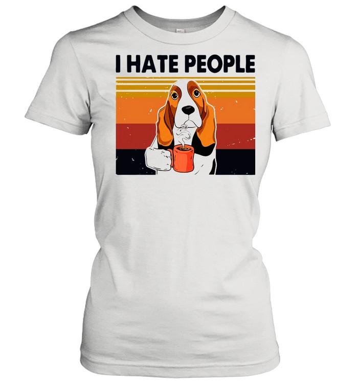 Labrador Retriever Drink Coffee I Hate People 2021 Vintage shirt Classic Women's T-shirt