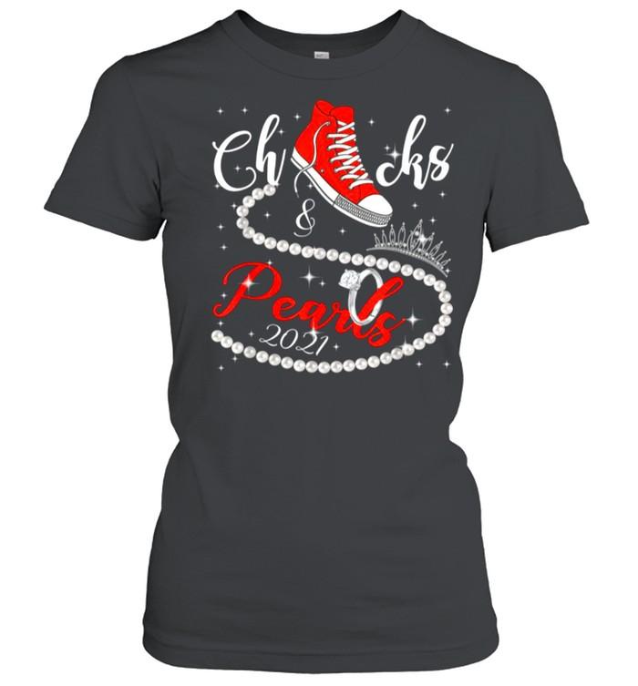 Diamond Ring And Crown Converse Chucks And Pearls With Kamala Harris 2021 shirt Classic Women's T-shirt
