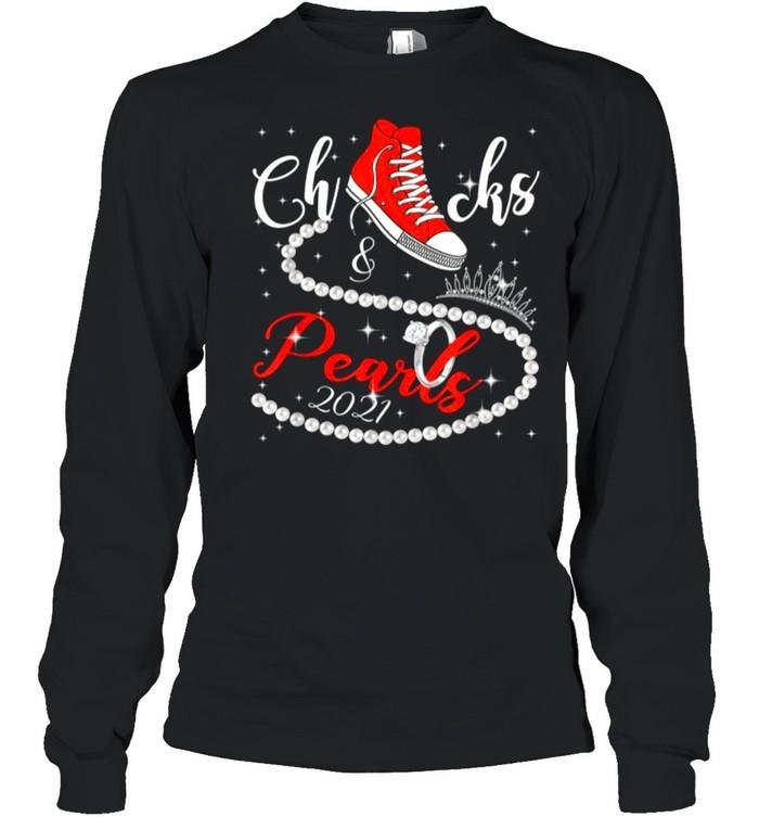 Diamond Ring And Crown Converse Chucks And Pearls With Kamala Harris 2021 shirt Long Sleeved T-shirt