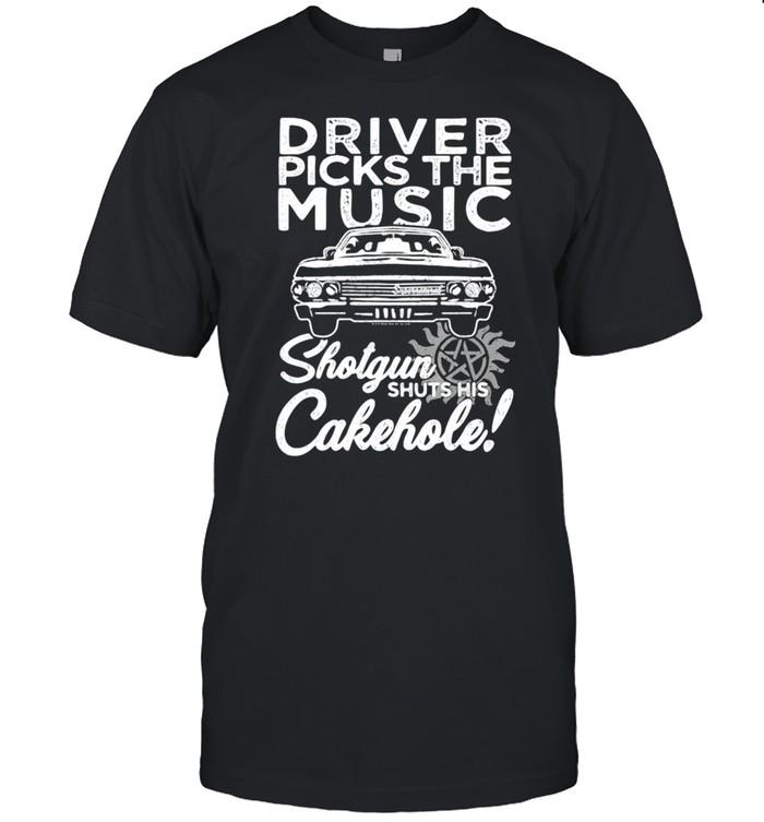 Driver Picks The Music Shotgun Shuts His Cakehole Car Supernatural John The Hunt shirt Classic Men's T-shirt