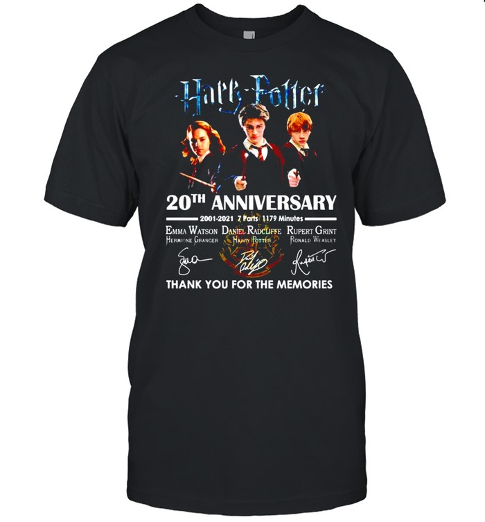 Harry Potter 20th Anniversary 2001 2021 Thank You For The Memories Signature shirt Classic Men's T-shirt