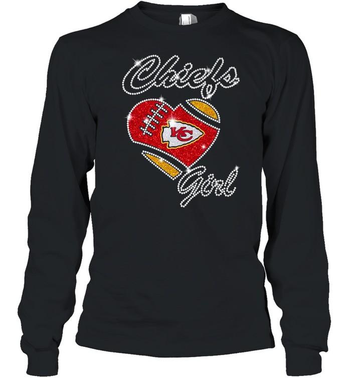 Heart Kansas City Chiefs girls Diamond shirt Long Sleeved T-shirt