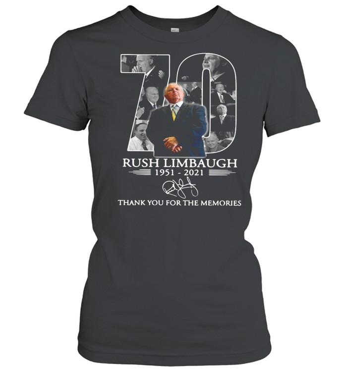 70 rip Rush Limbaugh 1951 2021 thank you for the memories shirt Classic Women's T-shirt