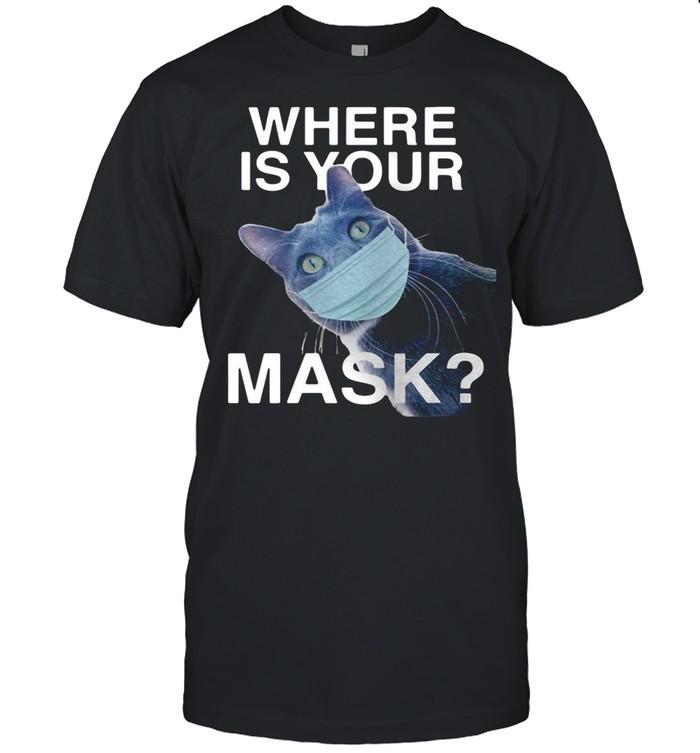 Cat Where Is Your Mask Black Cat shirt Classic Men's T-shirt