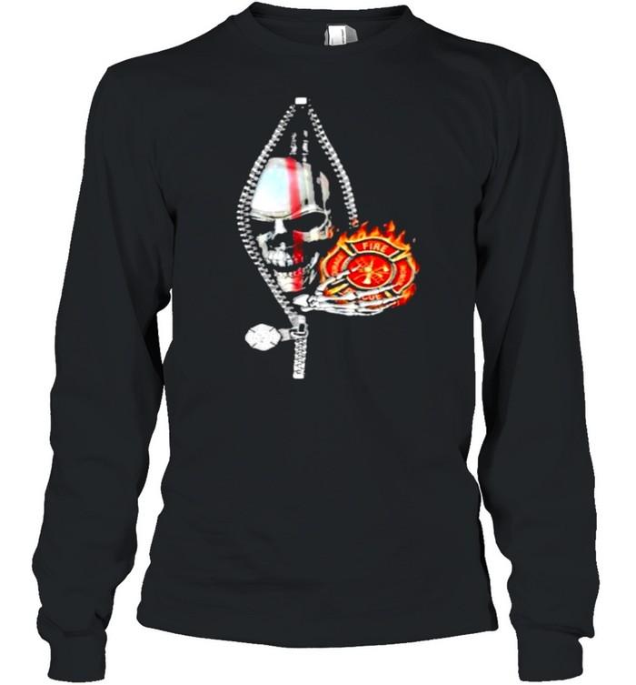 Firefighter skull 2 sides shirt Long Sleeved T-shirt