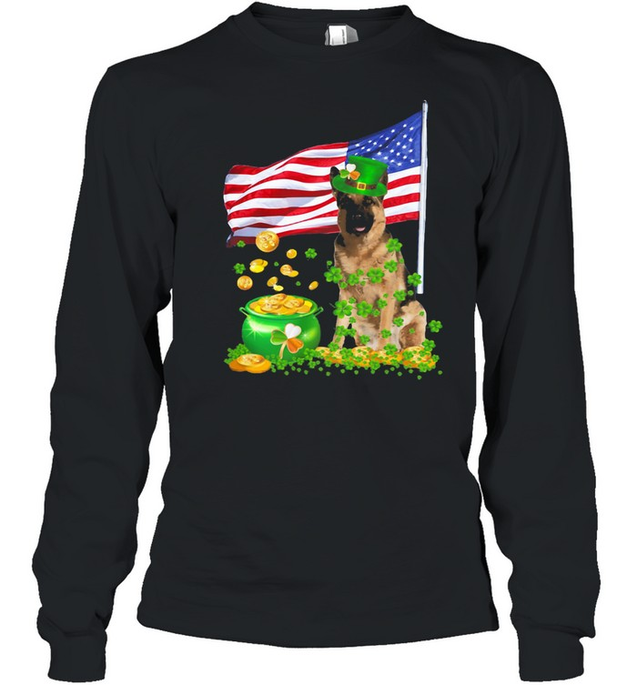 The Dog Ameriacn Flag Irish shirt Long Sleeved T-shirt