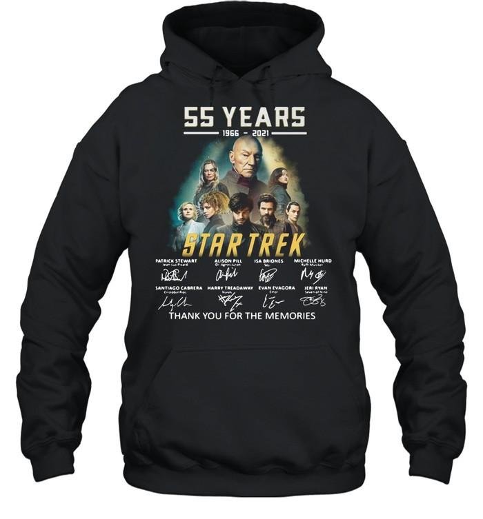 55 years 1966-2021 Star Trek thank you for the memories signatures shirt Unisex Hoodie