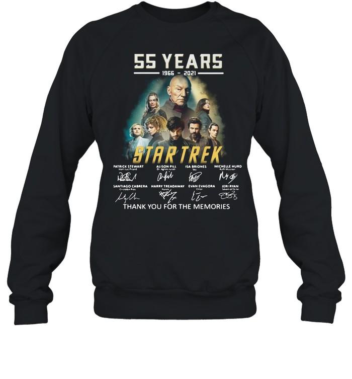 55 years 1966-2021 Star Trek thank you for the memories signatures shirt Unisex Sweatshirt