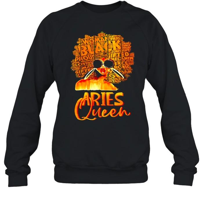 Aries Queen Black Woman Afro Natural Hair African American shirt Unisex Sweatshirt