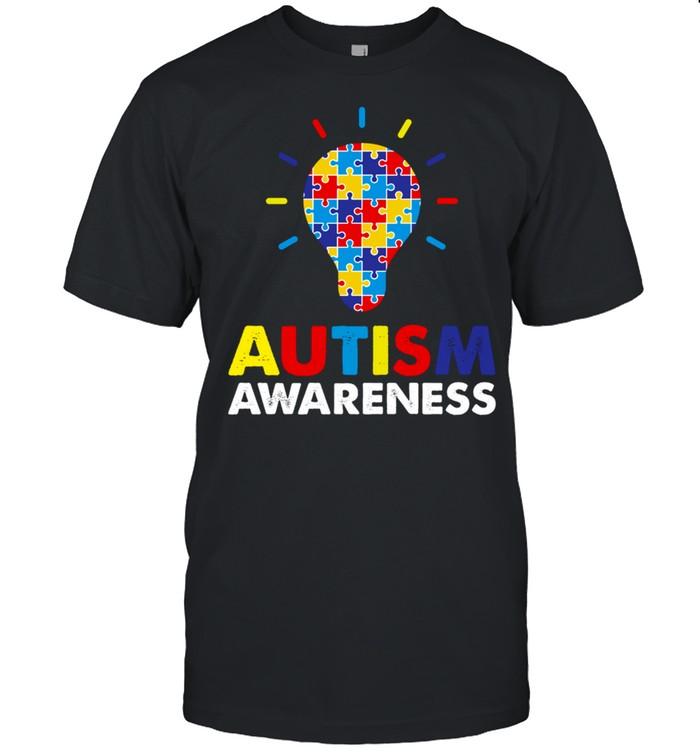 Autism Awareness Month Light Bulb Puzzle Piece shirt Classic Men's T-shirt