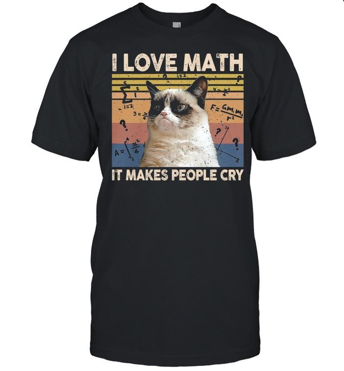 Cat I Love Math It Makes People Cry Vintage shirt Classic Men's T-shirt