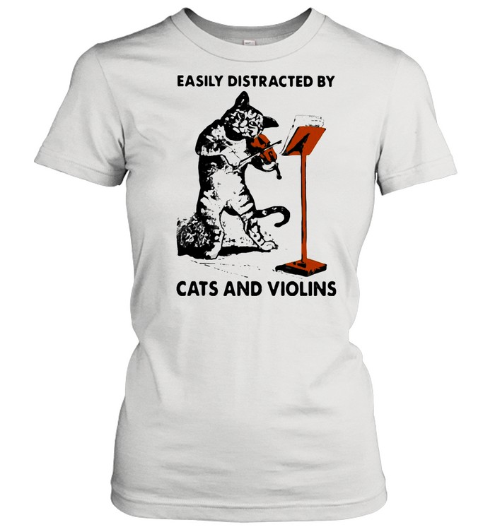 Black Cat Easily Distracted By Cats And Violins shirt