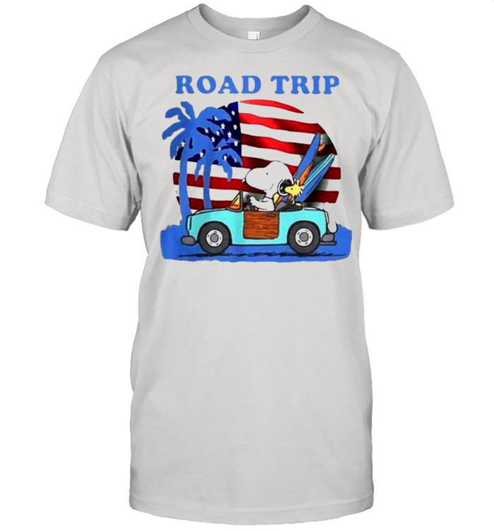 Snoopy And Woodstock Riding Car Road Trip American Flag Independence Day shirt