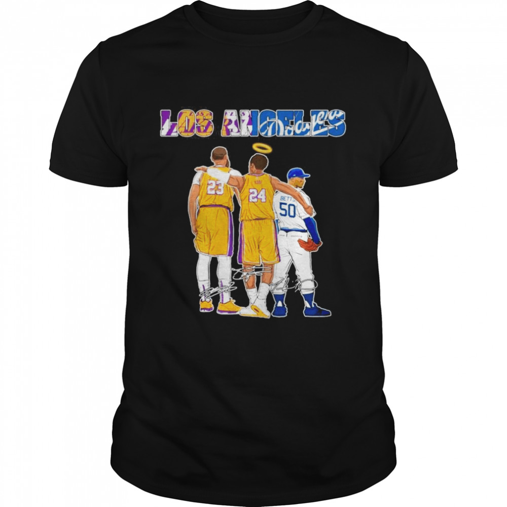 The Los Angeles Sports 23 Lebron James 24 Kobe Bryant And 50 Betts Signatures shirt