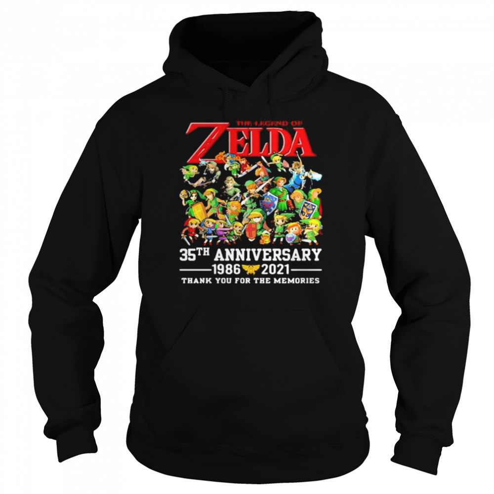 The Zelda 35th Anniversary 1986 2021 Thank You For The Memories shirt Unisex Hoodie