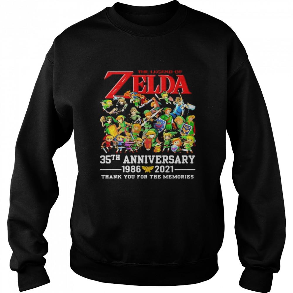 The Zelda 35th Anniversary 1986 2021 Thank You For The Memories shirt Unisex Sweatshirt