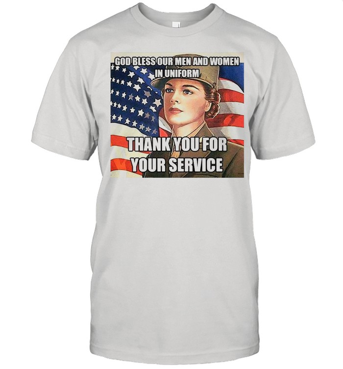 American Flag Girl God Bless Our Men And Women In Uniform Thank You For Your Service T-shirt Classic Men's T-shirt