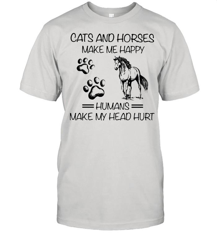 Cats And Horses Make Me Happy Humans Make My Head Hurt  Classic Men's T-shirt