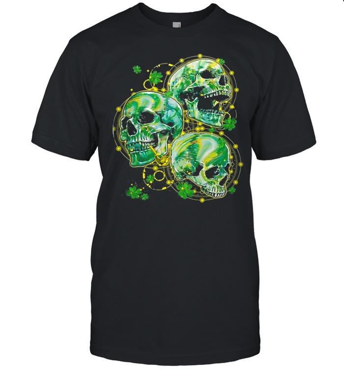 Green Shamrocks Skull With Smoking Pipe Yellow Dots Circle shirt