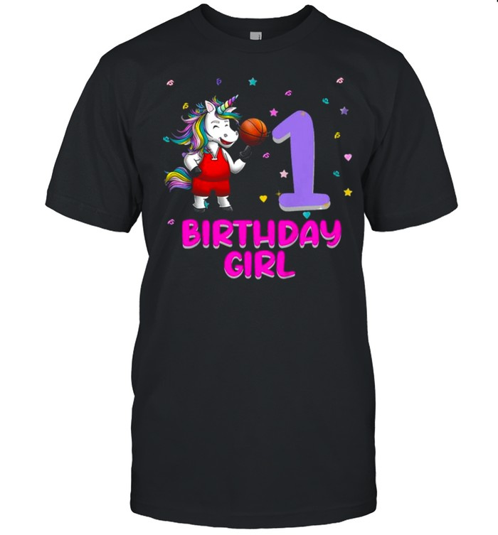 Kids Unicorn Basketball 1st Birthday Girl Love Funny 1 Year Old Tee  Classic Men's T-shirt
