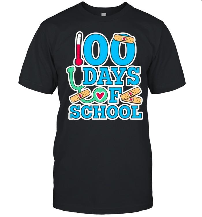 School Nurse 100 Days Of School  Classic Men's T-shirt