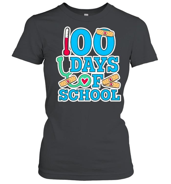 School Nurse 100 Days Of School Classic Women's T-shirt