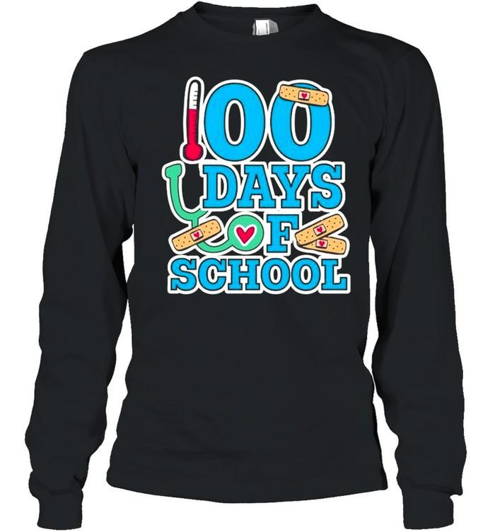 School Nurse 100 Days Of School Long Sleeved T-shirt