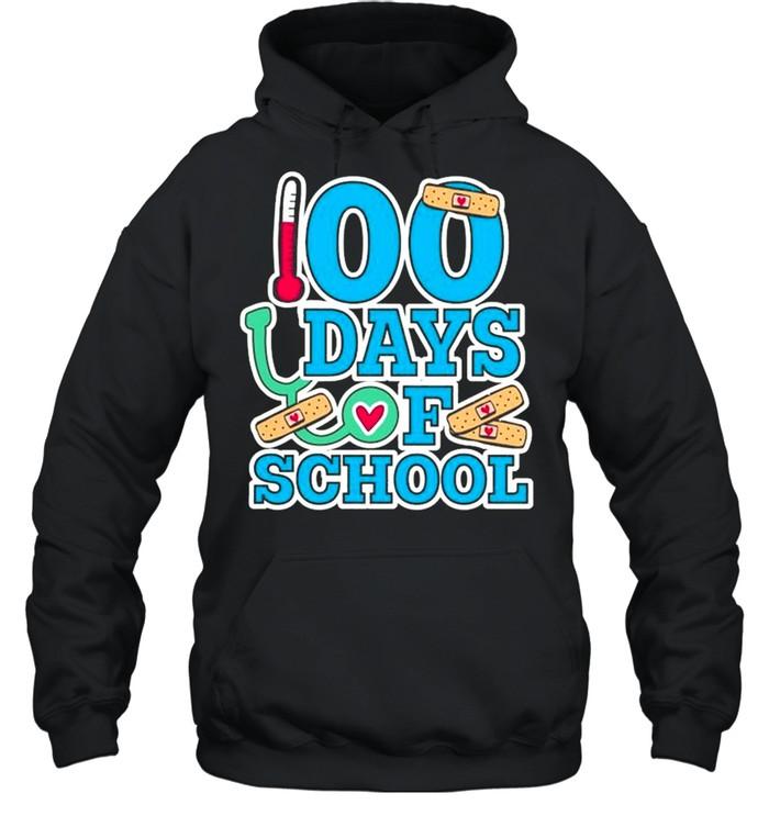 School Nurse 100 Days Of School Unisex Hoodie