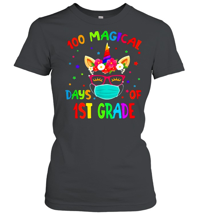 100 Magical Days Of 1St Grade Unicorn Classic Women's T-shirt
