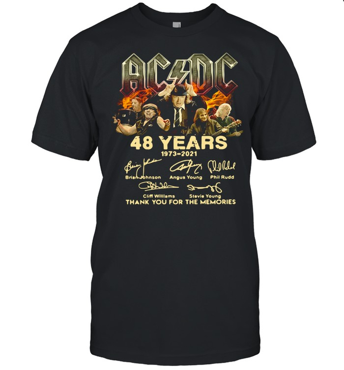 AC DC 48 Years 1973 2021 signatures thank you for the memories shirt Classic Men's T-shirt