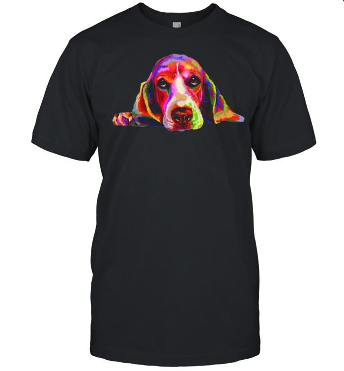 Colorful Basset Hound Hand Drawn Dog Painting shirt Classic Men's T-shirt