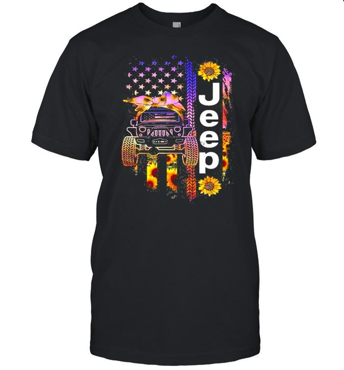 Jeep Wearing Sunflower Bandana Wheel Print American Flag shirt