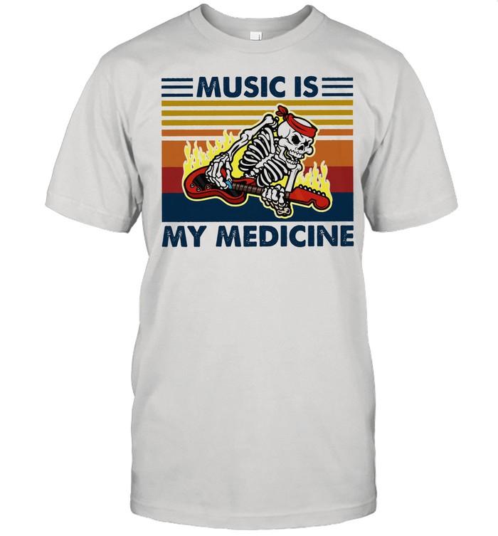 Skeleton music is my medicine vintage shirt Classic Men's T-shirt