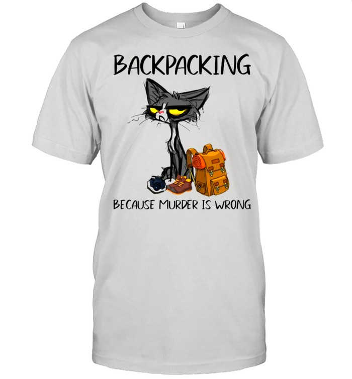 Black Cat Backpacking Because Murder Is Wrong shirt Classic Men's T-shirt
