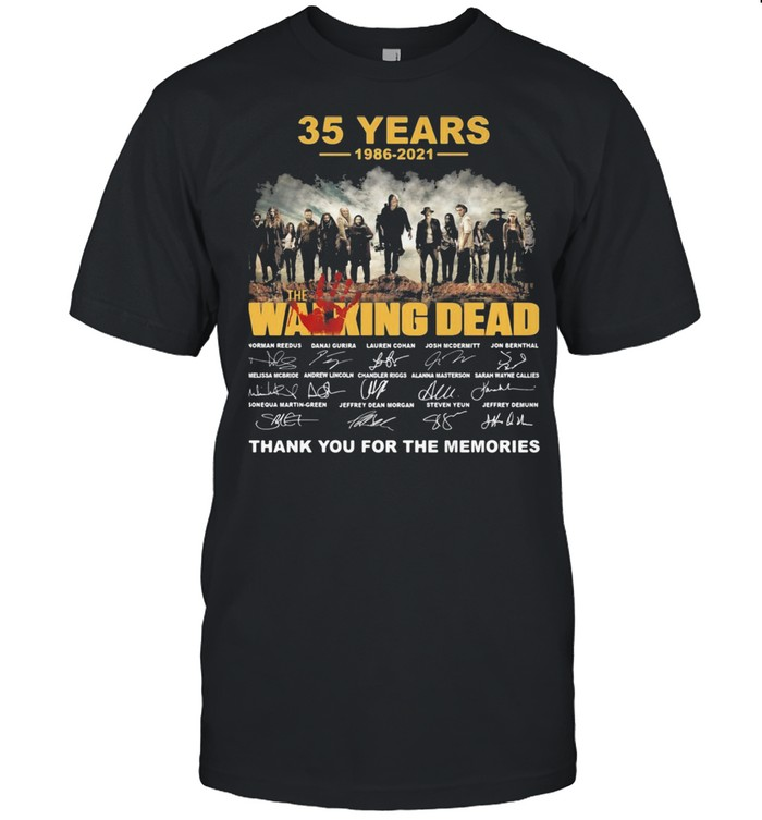 35 years 1986 2021 the Walking Dead signatures thank you for the memories shirt Classic Men's T-shirt