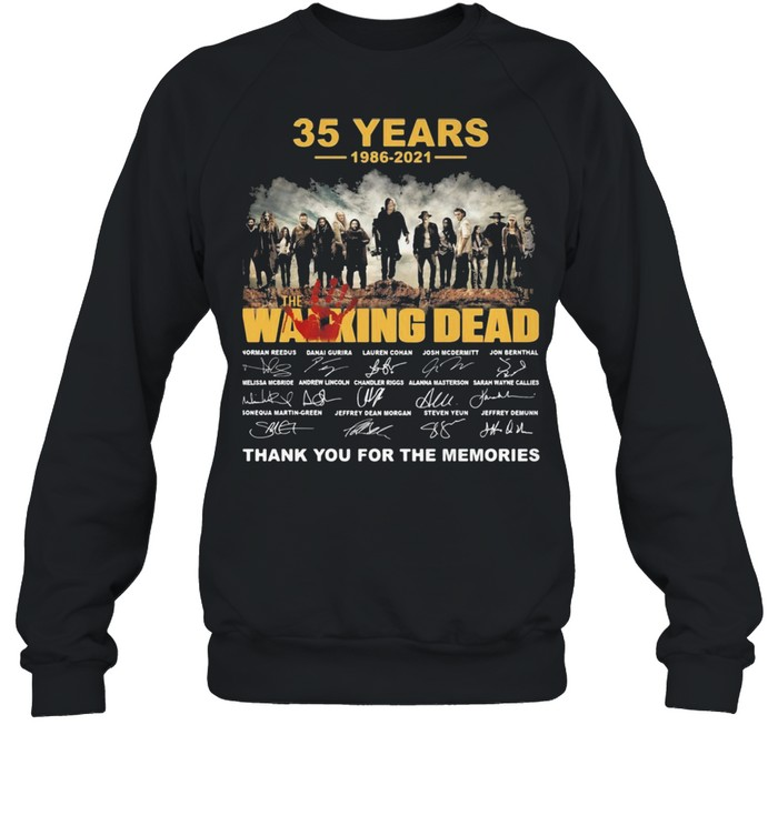 35 years 1986 2021 the Walking Dead signatures thank you for the memories shirt Unisex Sweatshirt