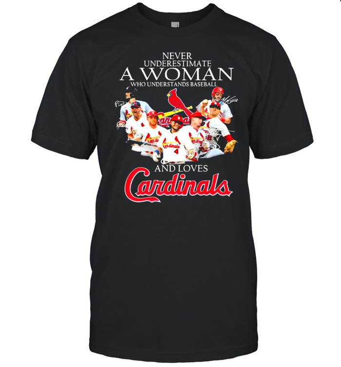 Never Underestimate A Woman Who Understand Baseball And Loves Cardinals Signature  Classic Men's T-shirt