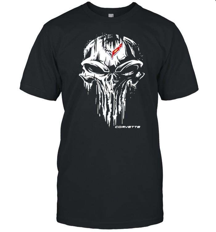Punisher Skull With Corvette Car Logo Symbol  Classic Men's T-shirt
