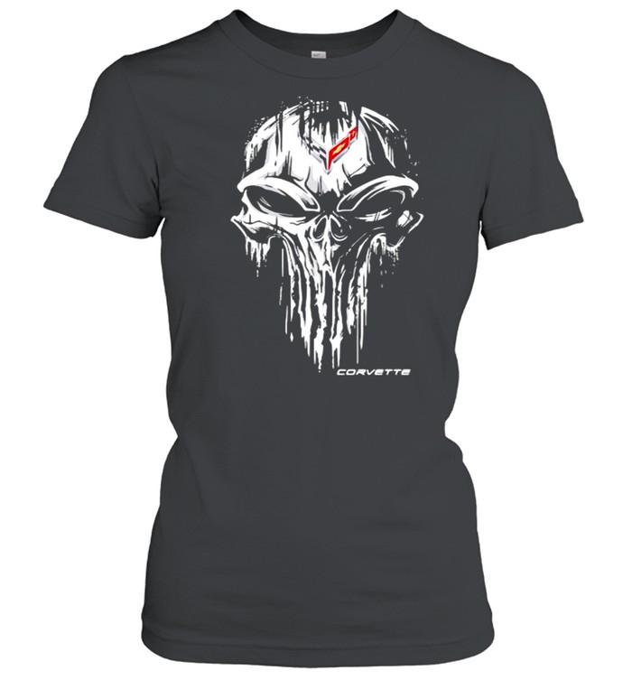 Punisher Skull With Corvette Car Logo Symbol  Classic Women's T-shirt