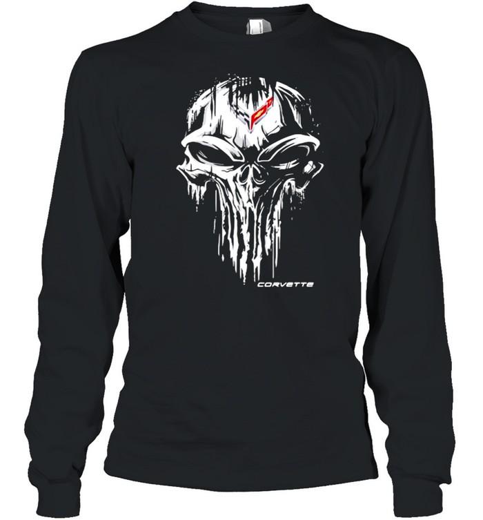 Punisher Skull With Corvette Car Logo Symbol  Long Sleeved T-shirt