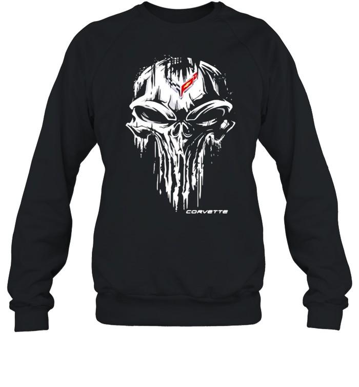 Punisher Skull With Corvette Car Logo Symbol  Unisex Sweatshirt