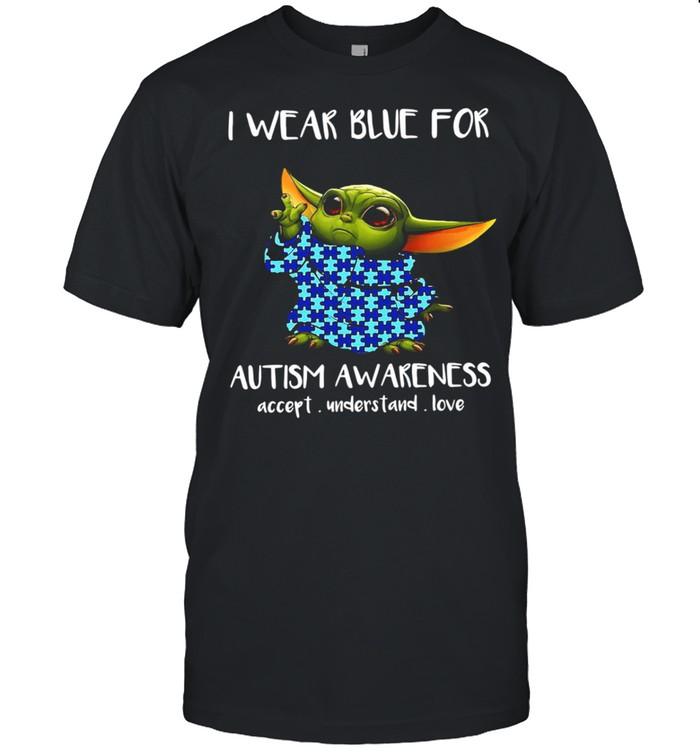 Baby Yoda I wear Blue for Autism awareness accept understand Love shirt Classic Men's T-shirt