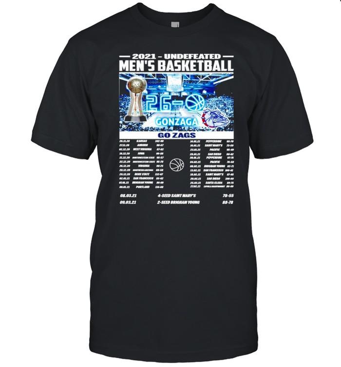 2021 undefeated men's basketball Gonzaga Bulldogs shirt