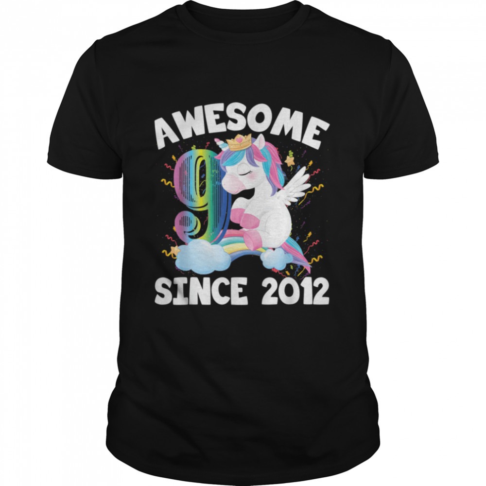 9 Years Old Unicorn 9th Birthday Party Awesome Since 2012 shirt Classic Men's T-shirt