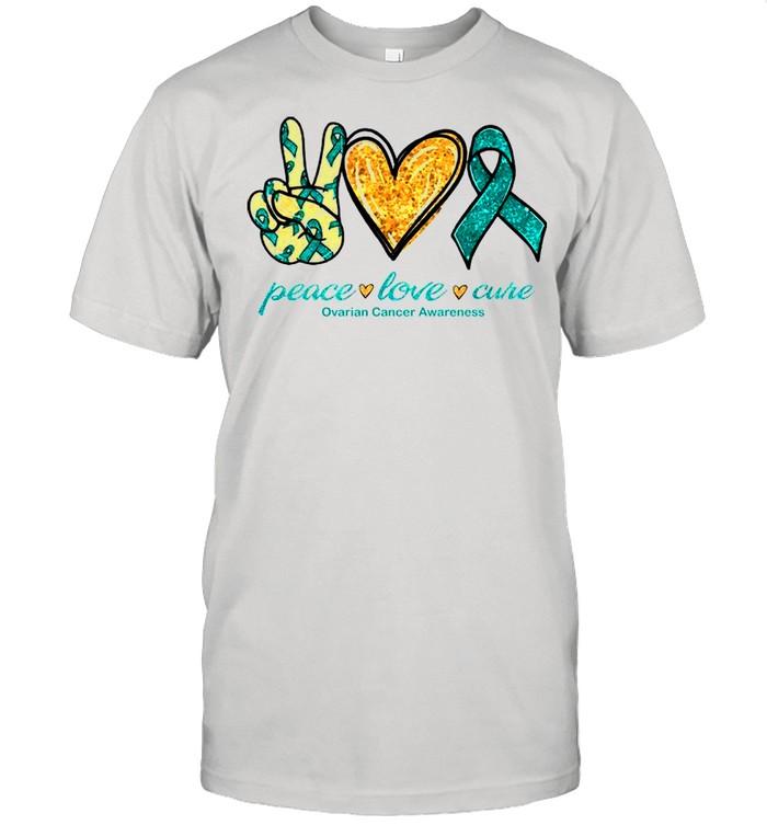 Peace Love Ovarian Cancer Awareness shirt Classic Men's T-shirt