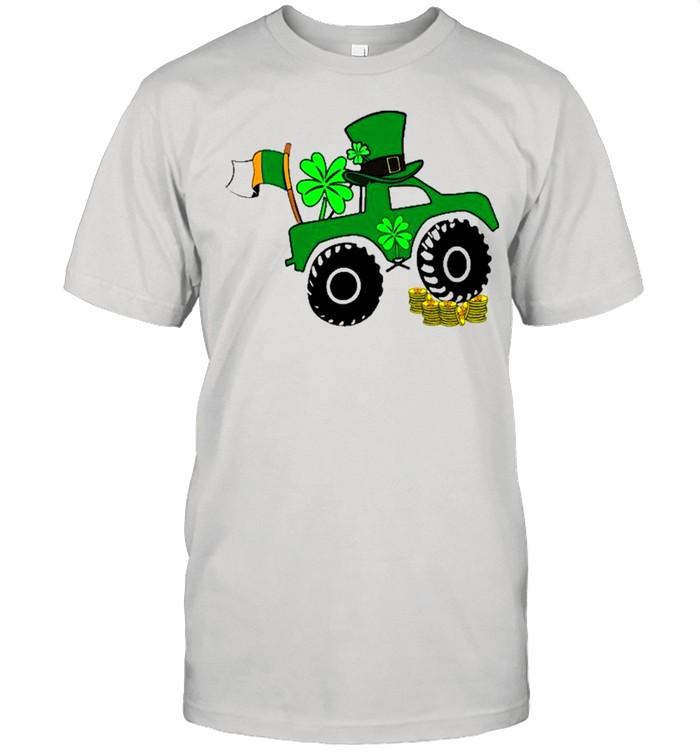 St Patrick's Day Monster Truck Lover Irish Shamrock  Classic Men's T-shirt