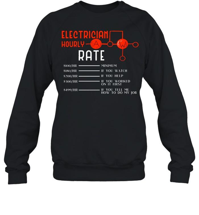 Electrician Hourly Rates Lineman Retro Electricians shirt Unisex Sweatshirt