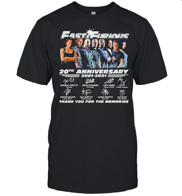 Fast And Furious 20 Years 2001 2021 Thank You For The Memories Signatures  Classic Men's T-shirt